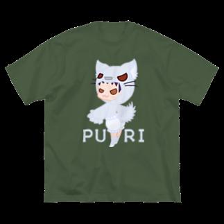 ウサネコのぷり☆オオカミちゃん Big silhouette T-shirts