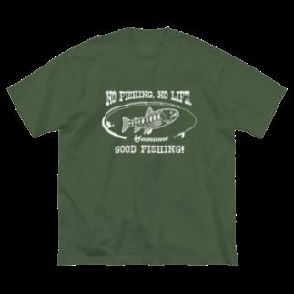 猫と釣り人のヤマメ_8W Big silhouette T-shirts