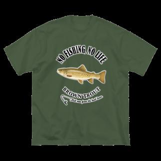 猫と釣り人のBROWN TROUT_6_4C Big silhouette T-shirts