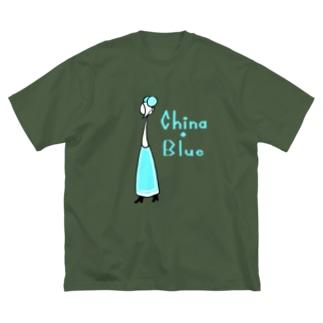 カクテル チャイナブルー Big silhouette T-shirts