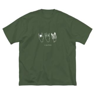 シンプル3horses 白線ver Big silhouette T-shirts
