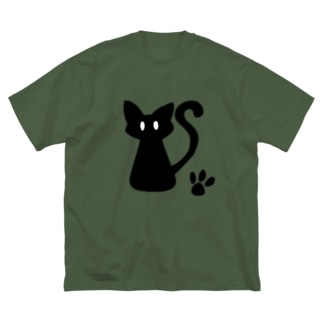 安定感企画 イラスト編No.1 黒猫 Big silhouette T-shirts