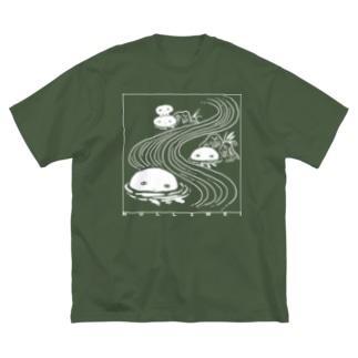 くらげの川流れ Big silhouette T-shirts