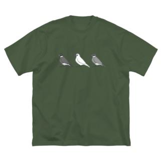 三羽文鳥モノトーン Big silhouette T-shirts