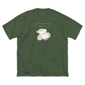 ハチワレ姉妹とカカポとキーウィ (濃い色) Big silhouette T-shirts