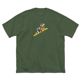 動物スキー Big silhouette T-shirts