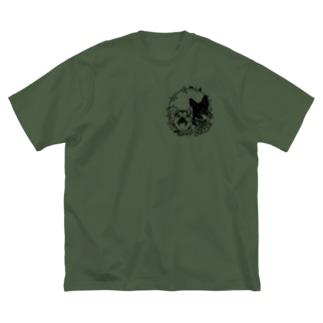 ちょびくま(切り絵) Big silhouette T-shirts
