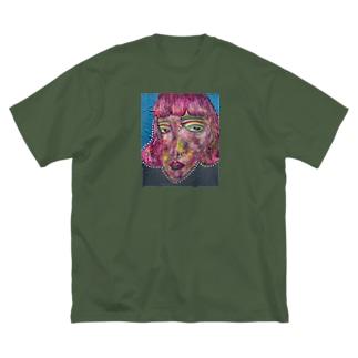 pink hair Big silhouette T-shirts