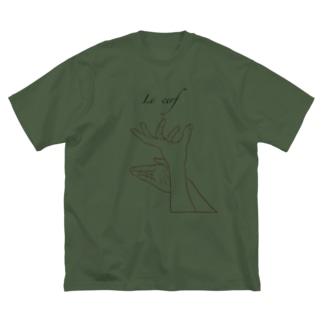 Jackalope  series  【雄鹿】 手影絵 Big silhouette T-shirts