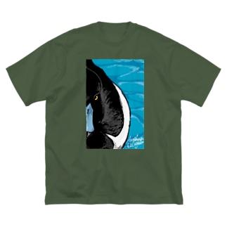 キンクロハジロ(Tufted duck) Big silhouette T-shirts