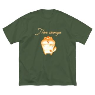 《ネオンシリーズ》*I love orange*しば* Big silhouette T-shirts