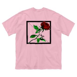切り華 バラバラになるバラ Big silhouette T-shirts