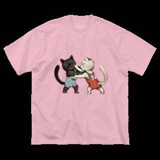 Dark blancoのにゃんこレスリング Big silhouette T-shirts
