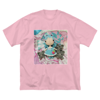 Miku Corporation  Galleryのあみぐるみラゼルと3匹の猫 Big silhouette T-shirts