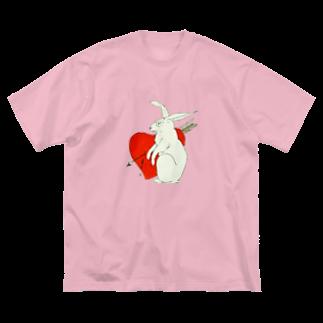 KUSUKUSU-COMPANYのうさぎ Big silhouette T-shirts
