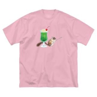 「クリームソーダはいかが?」-シマリスより- Big silhouette T-shirts