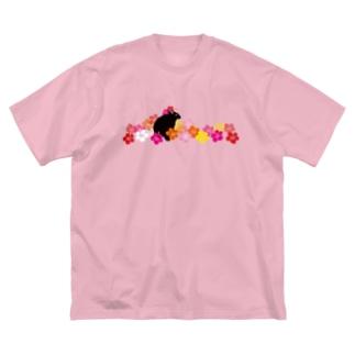 ハイビスカスクロウサギ Big silhouette T-shirts