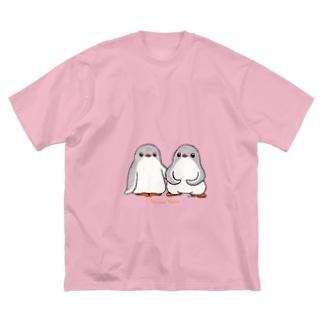 ふたごのジェンツーペンギン(ロゴあり) Big silhouette T-shirts