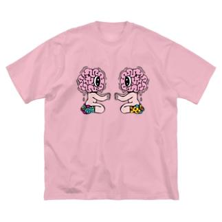 右脳と左脳 Big silhouette T-shirts