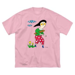 Claraのおみせの小脇にパン Big silhouette T-shirts