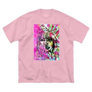 壊れたハート Broken my heart Big silhouette T-shirts