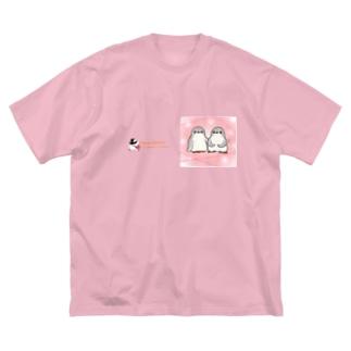 ふたごのジェンツーペンギン(キラキラロゴつき) Big silhouette T-shirts