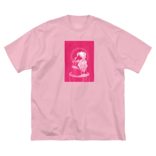 薔薇色 Big silhouette T-shirts