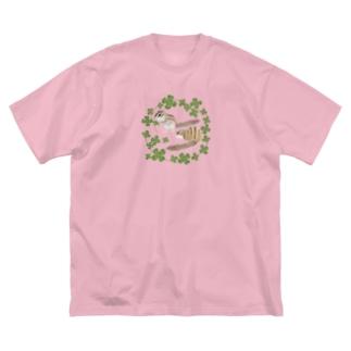 シマリスとクローバー Big silhouette T-shirts