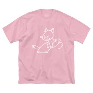 サーフィンをするブタさん(白線) Big silhouette T-shirts