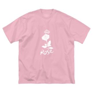 ローズ(ホワイト) Big silhouette T-shirts