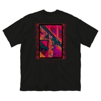 錆びて剥がれて灼熱 ~ ワイン Big silhouette T-shirts