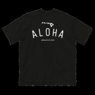 Hawaii Style Clubの〔Back Print〕 ALOHA ISLANDS WHT LOGO Big silhouette T-shirts