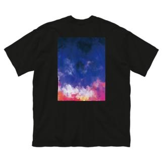 『背負ってSPICA BIG-T 黒』 Big silhouette T-shirts