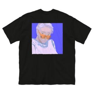 太陽にブルー(バックプリント) Big silhouette T-shirts