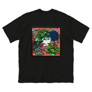 耳に花 Big silhouette T-shirts