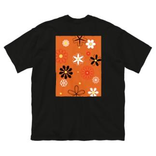 懐かしの花 Big silhouette T-shirts