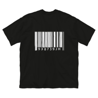 バーコード(白背面Ver.) Big silhouette T-shirts
