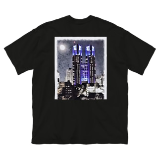 ウルフムーン満月with都庁 Big silhouette T-shirts