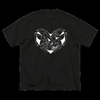 Meow__35のη άσπρος καρδιά Big silhouette T-shirts