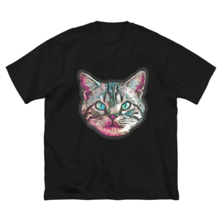 色彩キャット(ピンク) Big silhouette T-shirts