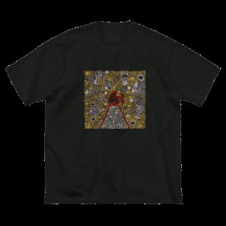 むきむき   地球生活のずっとはなさない Big silhouette T-shirts