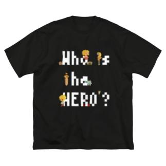 ピクセルもじ と ボクセルきょうだい(白文字) Big silhouette T-shirts