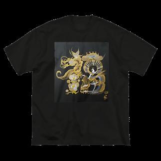hanamoji-mayuの花文字「福」 Big silhouette T-shirts