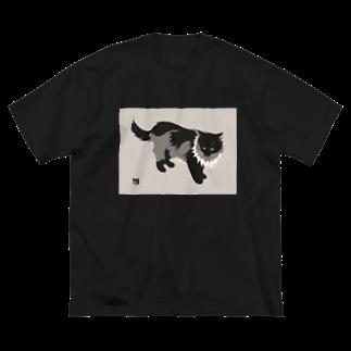 無真獣73号のたてがみのある猫の服 Big silhouette T-shirts