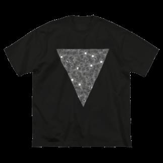 sakiyamaの三角お花 ビッグT(白線) Big silhouette T-shirts