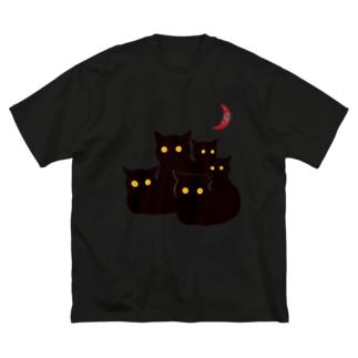 銀鉤舎 暗闇の黒猫 Big silhouette T-shirts
