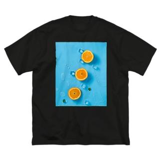 オレンジ Big silhouette T-shirts