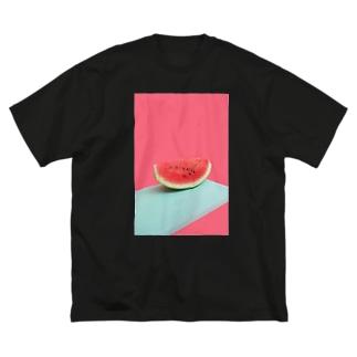 すいか Big silhouette T-shirts