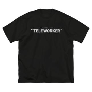 TELE WORKER / BLACK Big silhouette T-shirts