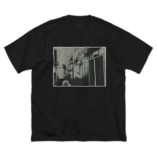 寄り道への誘い【黒】(白縁) Big silhouette T-shirts